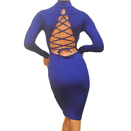 Club Manica Fasciatura Partito Blu Chicfor Backless Cocktail Donne Bodycon Della Sexy Vestito Lunga Del pPw6tBq