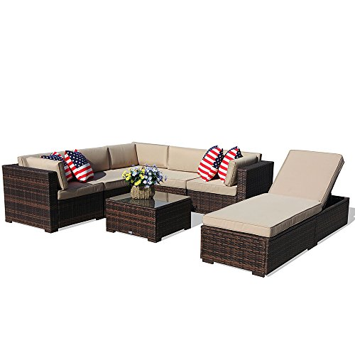 PATIOROMA Outdoor Furniture Sectional Sofa Set (7-Piece Set) All-Weather Brown Wicker with Beige Seat Cushions &Glass Coffee Table & Chaise Lounge Chair | Backyard, Pool| Steel Frame|Brown PE Wicker