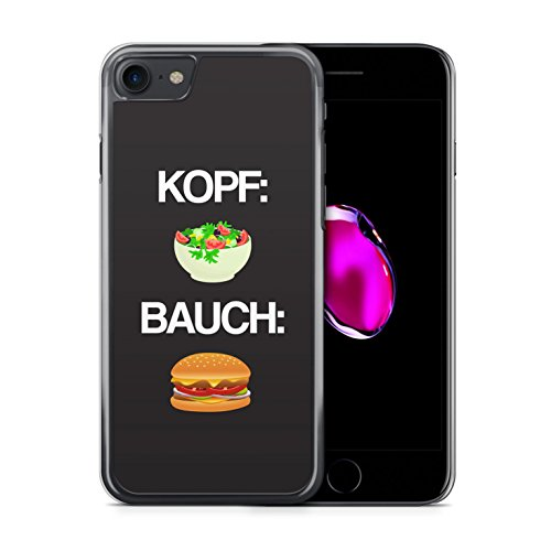 Kopf: Salat Bauch: Burger - iPhone 7 Hülle Handyhülle Case Cover Schutzhülle Hardcase - Fast Food Ernährung Fitness Coole Bedruckte Design Lustige Ausgefallene Geile Witzige Spruch