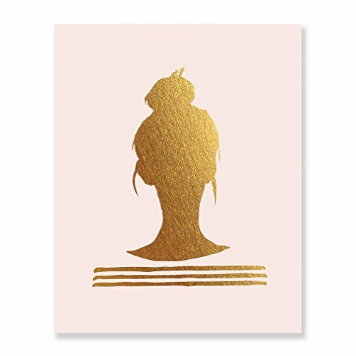 Top Knot Silhouette Gold Foil Print on Blush Pink Matte Paper Woman Bun Hairstyle Stripes French Chic Girly Office Glam Desk Decor Poster Wall Art 8 inches x 10 inches B38]()