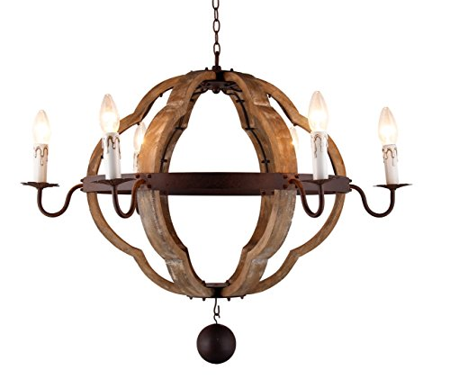Regina Design Andrew - 6 - Light Quatrefoil Chandelier French Country Wood Lantern Wooden Wine Barrel Pendant Light Kitchen Living Room Dining Room(31.5