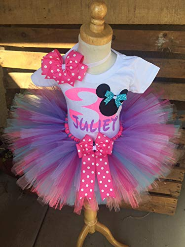 Minnie Mouse Birthday Outfit Tutu Set Dress Shirt ANY AGE Pink Lavender and Aqua -