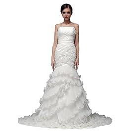 Dearta Women's Mermaid Strapless Court Train Wedding Dress UK 22 White