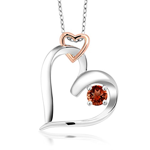 0.40 Ct Round Red Garnet 925 Two Tone Sterling Double Heart Pendant With Chain -