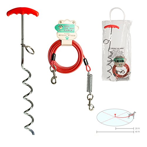 Plastic Dog Leash (CBCpet Tie Out Cable with Stake, 20 Feet for Dogs up to 125 Pounds, with Vinyl-Coated Wire, Heavy-Duty Plastic Handgrip and Metal Ring)