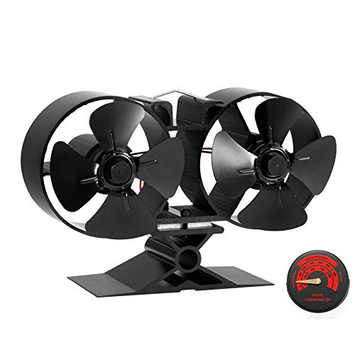 CRSURE Fireplaces Stove Fan - Double Motor - 8 Blade Heat Powered Stove Fan Specially for Large Room for Fireplace, Wood/Log Burner (Small Size) (Chimney Heat Reclaimer)
