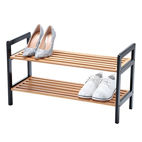 New Ridge Home Goods HX-70051 Wooden Shoe Rack Storage, Black & Natural