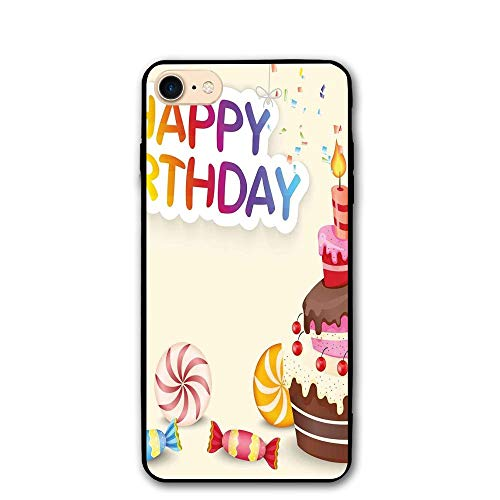 Haixia iPhone 7/8 Shell 4.7 inch Birthday Decorations Cute Composition Candies Yummy Cake Confetti Party Hats Balloons