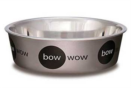 Loving Pets Bow Wow Bella Bowl for Dogs, Small, 1-Pint, Metallic Silver, My Pet Supplies