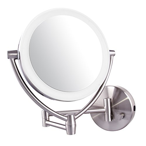 Ovente Led Lighted Wall Mount Makeup Mirror 1x 10x