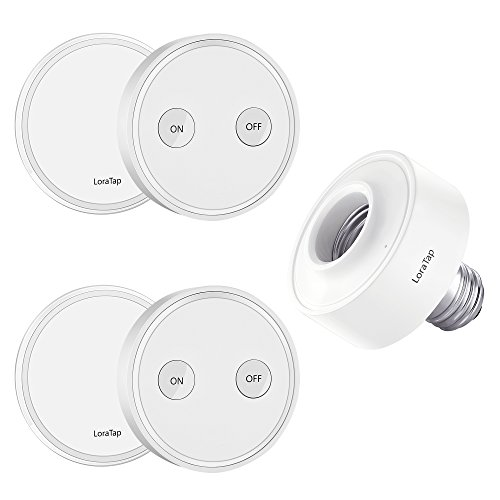 LoraTap Wireless Remote Control E26 E27 Light Socket Kit 656ft 915MHz Range On Off Switch for LED Bulbs and Fixtures, 5 Years Warranty (2pcs Light Switches + 1pc LED Lamp Holder)