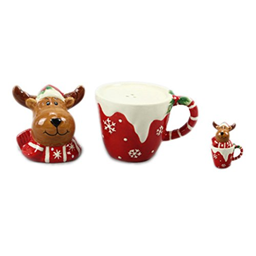 Youngs Moose On Cup Salt & Pepper Set]()