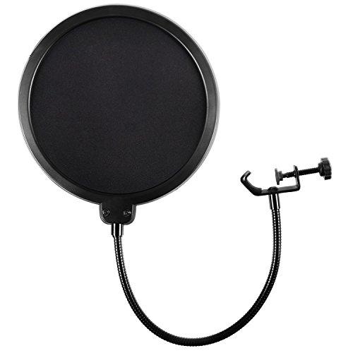 Micrófono Pop Filter para Yeti azul y cualquier otro Micrófono Pantalla Pop de viento de doble capa con brazo de estabilización de clip de cuello de cisne flexible de 360 ° Por Earamble