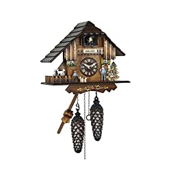 Quartz Cuckoo Clock with Music and Dancing Couple as Heidi's Chalet, 8 Inch