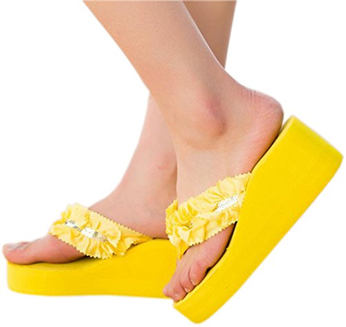 Bettyhome Women Summer Sexy Flowers Sequins Comfortable Thongs Casual Wedges Sandals Beach Flip Flops Slippers (8 B(M) US=EUR 39, yellow) (Sequin Flowers Sandals)