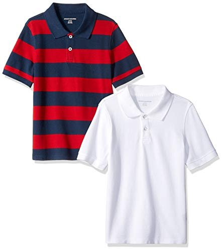 (Amazon Essentials Little Boys' Short-Sleeve Uniform Pique Polo, 2-Pack White &Navy/Red Rugby, Small)