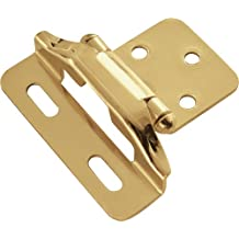 Hickory Hardware P60010F-3 Semi-Concealed 1/4-Inch Overlay Hinge, Polished Brass