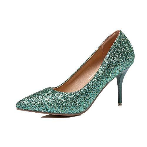 Tissu Légeres À Couleur Paillette Stylet Unie Agoolar Chaussures Cyan Femme Gmbdb011317 SqwEc1