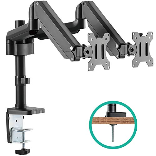 EleTab Dual Monitor Desk Mount Stand - Premium Aluminum Articulating Full Motion Computer VESA Monitor Arm, Extra Height Adjustable with Extension Pole | Heavy Duty Holds Screens Up to 17.6 lbs Each - Height Adjustable Extension