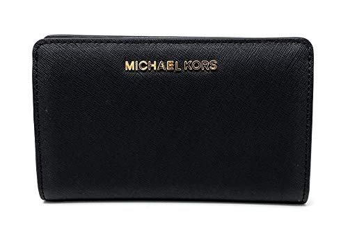 Leather Wallet Set - Michael Kors Jet Set Travel Slim Bifold Saffinao Leather Wallet (Black)