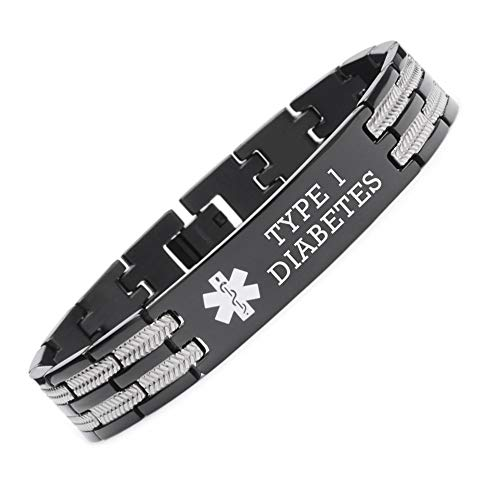 linnalove Not Allergic Black Titanium Medical Alert id Bracelet for Men and Women-Type 1 Diabetes ()