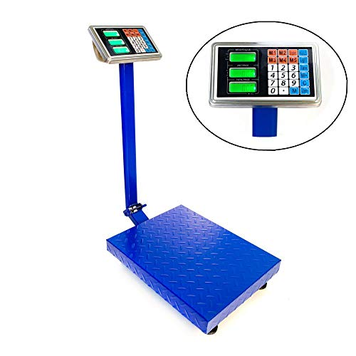 "Goujxcy 300KG/661lbs Weight Electronic Platform Scale Digital Heavy Duty Shipping and Folding Postal Scale with 15.75 x 21.65"" Durable Large Platform,Industrial Grade Bench Scale (Blue)"