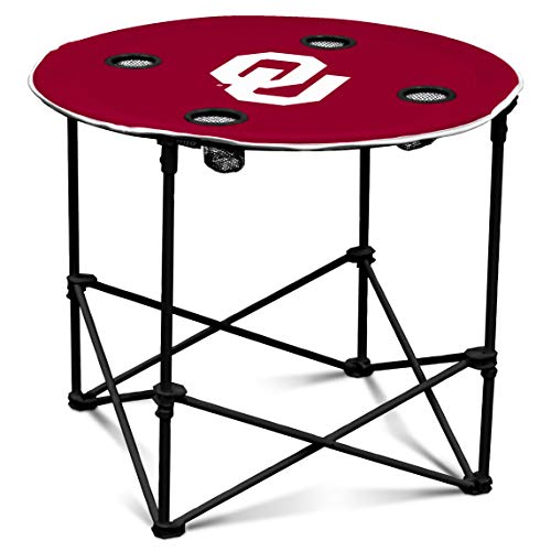 Oklahoma Sooners Collapsible Round Table with 4 Cup Holders and Carry Bag (Ou Logo)
