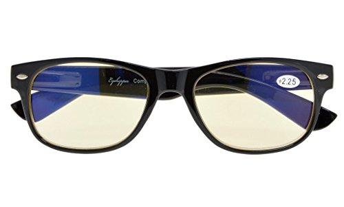 - Reduces Eyestrain,Anti Blue Rays,UV Protection Computer Reading Glasses Mens Womens(Black,Amber Tinted Lens) +2.5