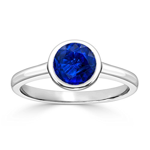 (14K White Gold Round-Cut Blue Sapphire Gemstone Solitaire Engagement Ring Bezel (1 cttw) Size 9)
