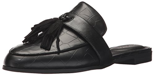 Kenneth Cole REACTION Women's Rain Down Flat Tassel Detail Embossed Mule, Black, 7.5 M US