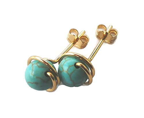 Turquoise Wrapped 14K Gold Filled Wire Stud Earrings