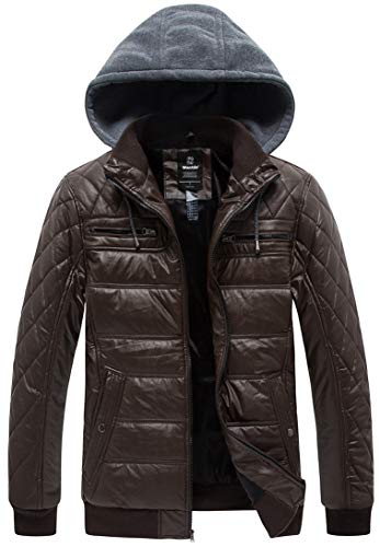 Wantdo Men's Padded Fleece Faux Leather Jacket Coat Winter Jacket with Removable Hood Coffee Small (Jackets Mens Designer Leather)