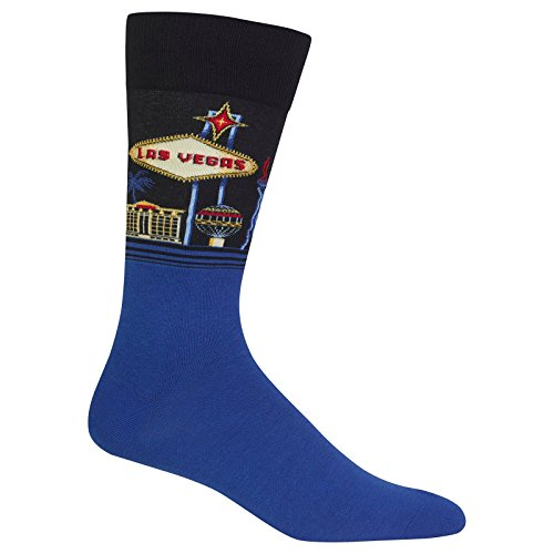 Hot Sox Men's Classic Fashion Crew Socks, Las Vegas (Black), Shoe Size:6-12 / Sock Size: - Mens Vegas Las Fashion