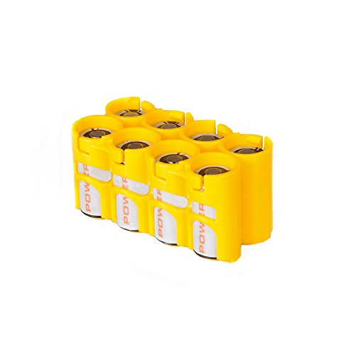 Storacell by Powerpax CR123 Battery Caddy, Yellow, Holds 8 Batteries by Storacell