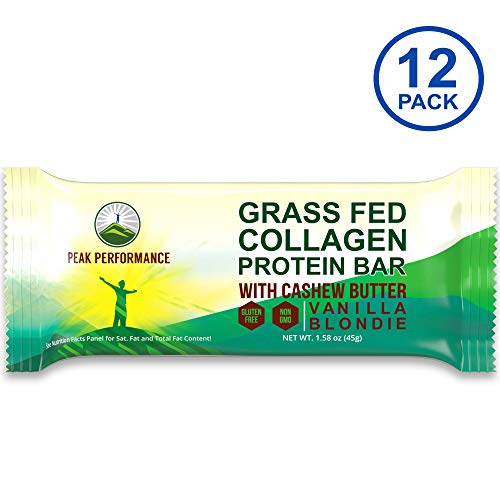 Grass Fed Collagen Protein Bar by Peak Performance. DELICIOUS Paleo and Keto Friendly Snack With Organic Cashew Butter. CLEAN, Non GMO, Gluten Free Vanilla Flavor Bars. A Perfect Primal Treat! 12 Pack