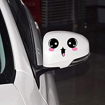 Cute Car Styling Smile Face 3D Decal Black Sticker for Auto Car Side Mirror YL