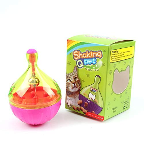 (Cat Treat Toys Food Dispenser Balls Cat Roller IQ Treat Ball Slow Feeder Toys Durable Interactive IQ Treat Ball Cat Treat Toys with Ring Bell Inside Treat Ball Food Dispenser for Cats Kitten)
