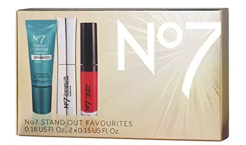 Boots Lip Gloss - Boots No7 Stand Out Favorites Gift Box including Protect and Perfect Intense Advance Serum, High Shine Lip Gloss Roaring Red and Dramatic Lift Mascara Black