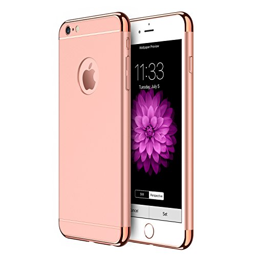 Price comparison product image iPhone 6s Plus/6 Plus Case RANVOO Stylish Slim Hard Case with 3 Detachable Parts for Apple iPhone 6s Plus/6 Plus, CHROME GOLD and MATTE ROSE GOLD, [CLIP-ON]