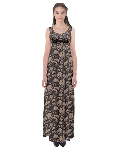 CowCow Womens Black Grunge Skulls Pattern Empire Waist Maxi Dress - 2XLTall (Skull Dress For Women)