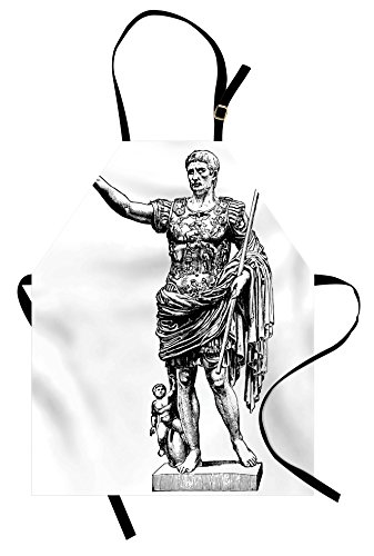 Ambesonne Toga Party Apron, Antique Statue of Augustus Vintage Ancient Historical King Emperor Figure Print, Unisex Kitchen Bib Apron with Adjustable Neck for Cooking Baking Gardening, Black White ()