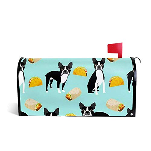 Boston Terrier Tacos Magnetic MailWrap Mailbox Cover Home Mailbox Drop -