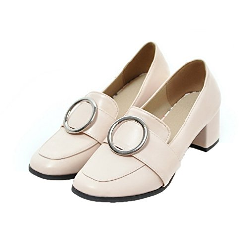 Amoonyfashion Dame Kitten-hæler Pu Faste Pull-on Lukket Tå Pumper-sko Beige
