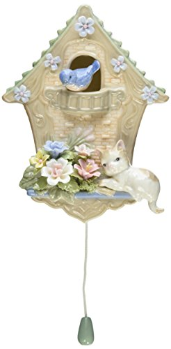 Cosmos 80103 Fine Porcelain Cat and Birdhouse Musical Figurine, - Lamp Green Accent Bunny