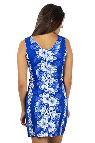 Kleid Original Blätter Tank Blumen Girlande Hawaii Damen Blau Blau KY's Hawaiikleid S Print XXL Yqvypwd