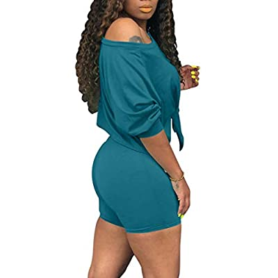 cailami Women's Sexy 2 Piece Club Outfits Tie Up Crop Top Bodycon Shorts Jumpsuit Set: Clothing