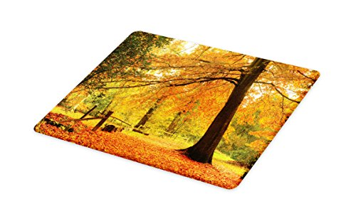 Lunarable Forest Cutting Board, Autumn Fall Forest Scene with Vibrant Colors and Pale Leaves Tranquil Peace Nature, Decorative Tempered Glass Cutting and Serving Board, Large Size, Orange ()