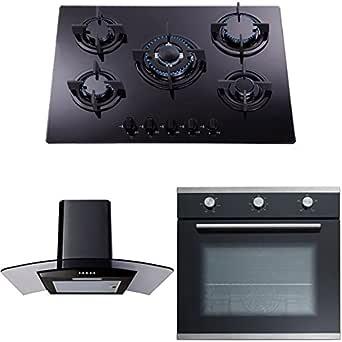 SIA - campana extractora negra de 70 cm, fogón de 5 fuegos de gas negro encimera de gas y horno eléctrico con un solo ventilador.: Amazon.es: Grandes electrodomésticos