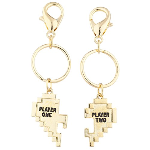 Lux Accessories Gold Tone Player 1 2 Gamer BFF Broken Heart Key Chain Set 2 ()