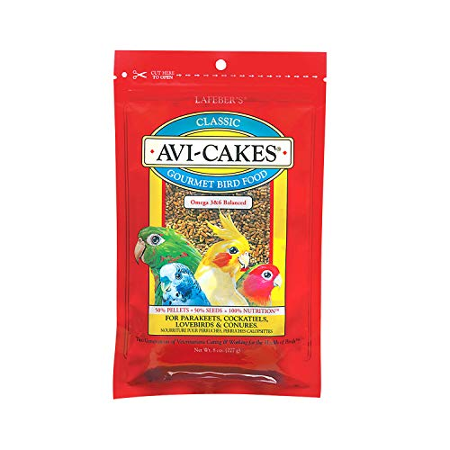 Avi Cakes Food - LAFEBER'S Classic Avi-Cakes Pet Bird Food, Made with Non-GMO and Human-Grade Ingredients, for Cockatiels Conures Parakeets (Budgies) Lovebirds, 8 oz